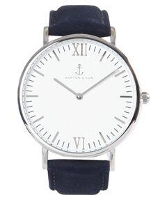 """Damen Uhr """"Campus White Silver Night Blue Leather"""""""