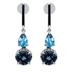 Damen Diamantohrringe mit Blautopas