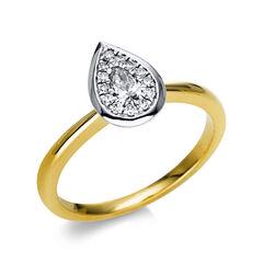 Damen Goldring mit Diamantbesatz