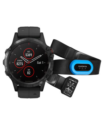 "Garmin - GPS-Multifunktionsuhr "" fēnix 5 Plus Sapphire Bundle HRM Tri Brustgurt"""
