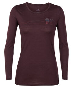 "Damen Shirt ""Tech Lite Long Sleeve Low Crewe Skis in Snow"" Langarm"