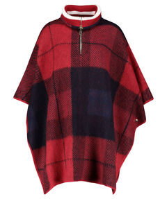 "Damen Poncho ""Icon Zipper Check Cape Sweater"""