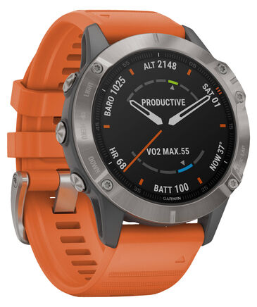 "Garmin - GPS-Multifunktionsuhr ""Fenix 6 Sapphire"" Grau/Silber Titan Lünette"